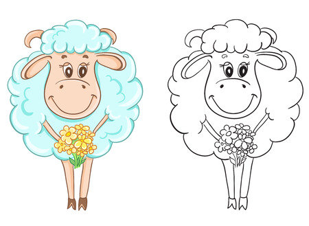 game meat: Coloring book with cartoon sheep for children education Illustration