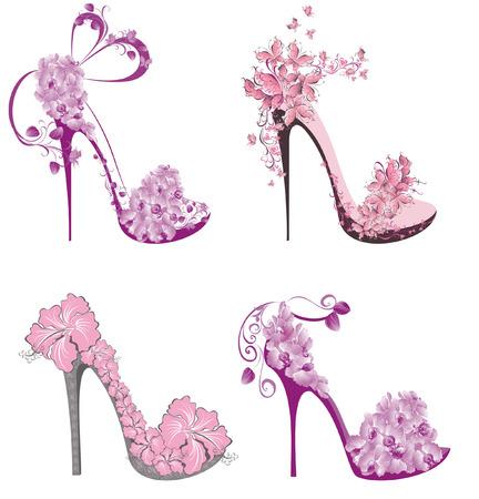 blumen abstrakt: Sammlung Schuhe auf einem hohen Ferse mit Blumen und Schmetterlingen verziert Illustration