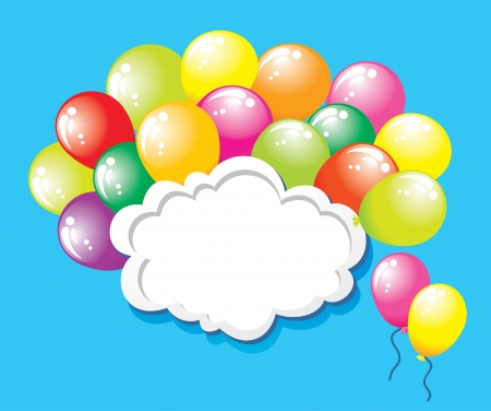 Birthday background with colorful balloons and copyspace  Vector