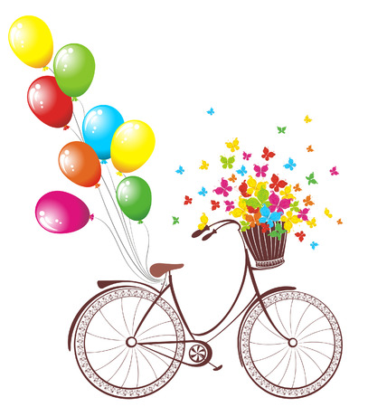 Romantic Birthday card. Bicycle with balloons and basket full of flowers and butterflies Vector