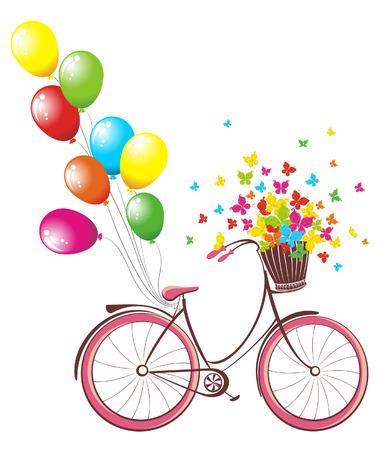 로맨틱 생일 카드. 풍선과 꽃과 나비의 전체 바구니와 함께 자전거