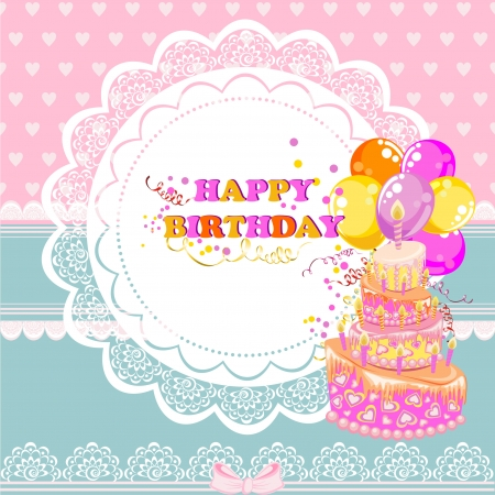Beautiful Vintage card on Birthday with cake and ballons Vector