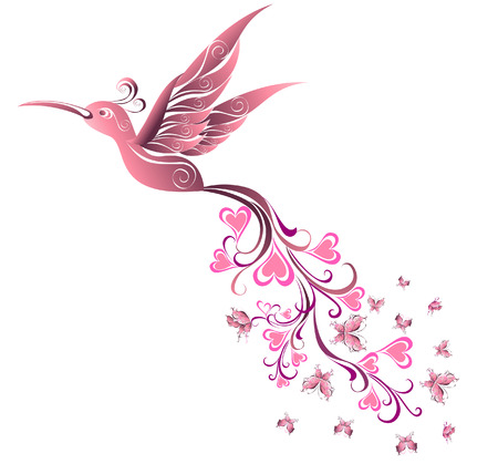 feathers: Tattoo Hummingbird. Vector