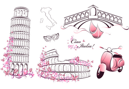 イタリア - ローマ、ヴェネツィア、ピサの有名なランドマーク  イラスト・ベクター素材