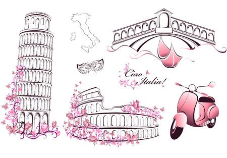 vespa piaggio: Famosi monumenti d'Italia - Roma, Venezia, Pisa Vettoriali