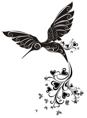 tatouage oiseau: Tatouage Colibri Vecteur Illustration