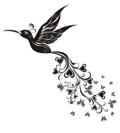 Tattoo Hummingbird  Vector Vector