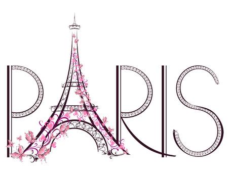 Torre Eiffel con Paris lettering illustrazione vettoriale Archivio Fotografico - 25515729