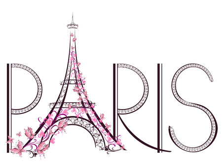 Touring: Wieża Eiffla w Paryżu Vector ilustracji napis