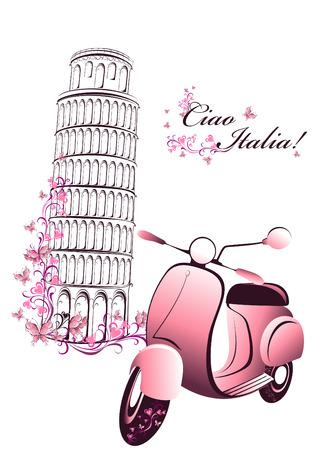 Viajes Postal retro a Italia Vespa de la vendimia en el fondo de la torre de Pisa Vectores