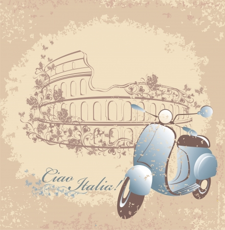 Retro postcard travel to Italy  Vintage scooter on the background of the Coliseum in Rome Vector