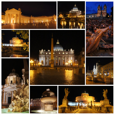 spanish steps: Rome in the night. Piazza Navona, Vatican, Spanish Steps, castle and bridge Saint Angel
