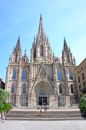 barcelona cathedral: Cathedral of the Holy Cross and Saint Eulalia is in the heart of Barri Gotic (Gothic Quarter) of Barcelona, Spain Editorial