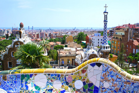 guell: Famous Park Guell in Barcelona, Spain