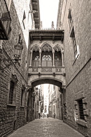 old quarter: Bridge at Carrer del Bisbe in Barri Gotic (Bishop Street), Barcelona, Catalonia, Spain