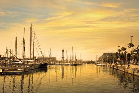 marina water: Marina port with yachts in Barcelona at sunrise  Spain Stock Photo