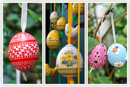 easter tree: Colored Easter Eggs hanging on ribbons  Collage of three photo