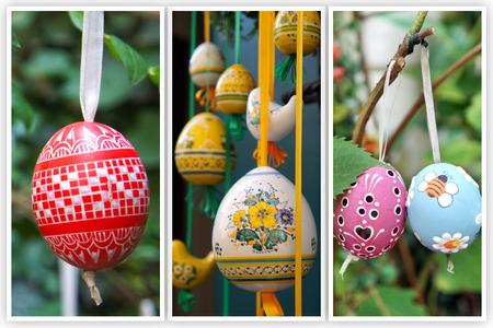 arbol de pascua: Huevos de Pascua coloreados que cuelgan en cintas collage de tres fotos Foto de archivo