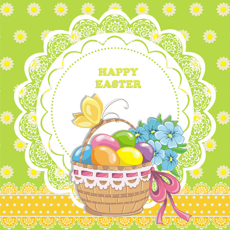 Happy easter vintage cards with colorful easter eggs in basket  Vector illustration  Vector