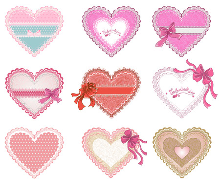 Collection Valentines day hearts or Weddings lacy hearts isolated on white background  Vector concept for greeting card Ilustrace
