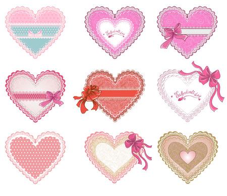 Verzameling Valentijnsdag harten of Bruiloften lacy harten op een witte achtergrond Vector concept voor wenskaart Stock Illustratie