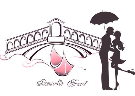 ハネムーンやロマンチックな旅行。幸せな若い恋人のカップルが、ヴェネツィアのリアルト橋の前でキス