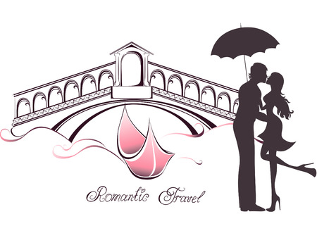 Honeymoon and Romantic Travel. Happy young lovers couple kissing in front of Rialto bridge  in Venice, Italy Vector