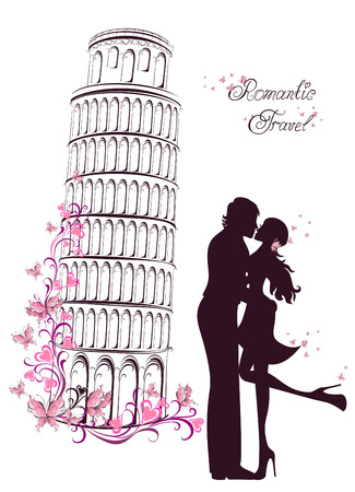 Honeymoon and Romantic Travel. Happy young lovers couple kissing in front of Pisa leaning tower, Italy Vector