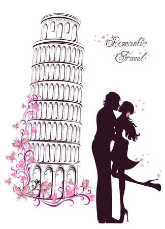 innamorati che si baciano: Luna di miele e Viaggi Romantica. Felice giovani amanti coppia baciare davanti a torre pendente di Pisa, Italia
