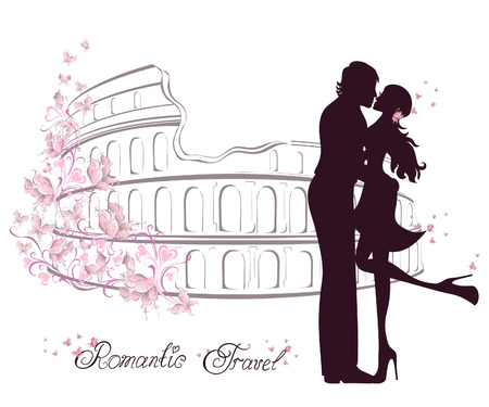 Honeymoon and Romantic Travel. Happy young lovers couple kissing in front of Colosseum in Rome, Italy Vector