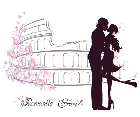 novios besandose: Luna de miel y viaje rom�ntico. Feliz j�venes enamorados pareja bes�ndose delante del Coliseo en Roma, Italia Vectores