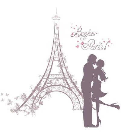 silhouettes lovers: Luna de miel y viaje romántico. Feliz jóvenes enamorados pareja besándose delante de la Torre Eiffel, París, Francia. Vectores