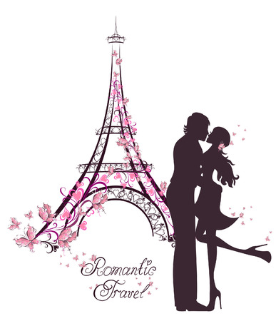 couple embrace: Honeymoon and Romantic Travel. Happy young lovers couple kissing in front of Eiffel Tower, Paris, France.