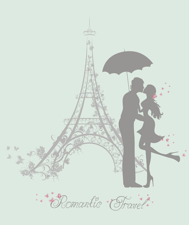 eiffel: Honeymoon and Romantic Travel. Happy young lovers couple kissing in front of Eiffel Tower, Paris, France.