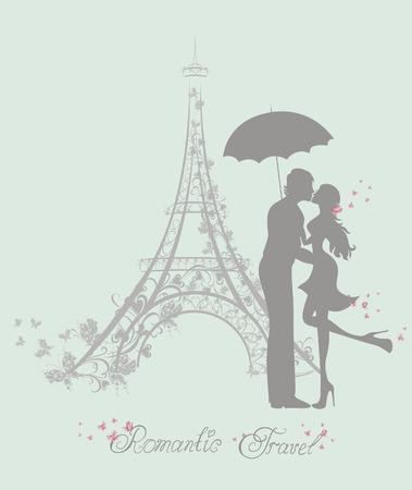 Touring: Romantyczny miesiąc miodowy i turystyczne. Szczęśliwa para młodych kochanków kissing przed Wieżą Eiffla, Paryż, Francja.