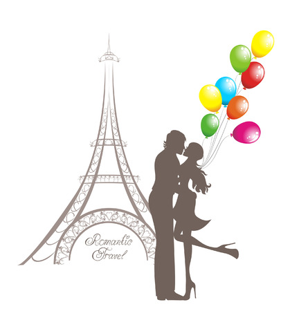 balloon woman: Honeymoon and Romantic Travel. Happy young lovers couple kissing in front of Eiffel Tower, Paris, France.