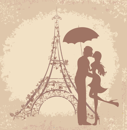 Honeymoon and Romantic Travel. Happy young lovers couple kissing in front of Eiffel Tower, Paris, France.  Vector