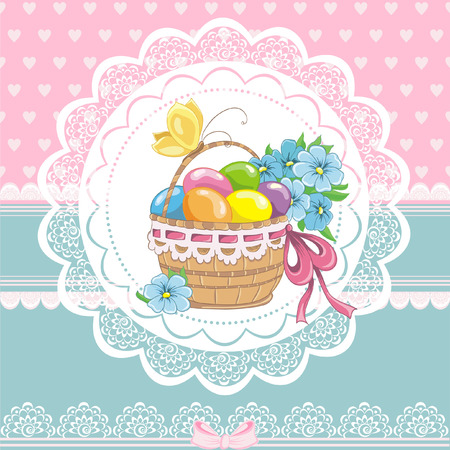 Happy easter vintage cards with colorful easter eggs in basket.  Vector illustration  Vector