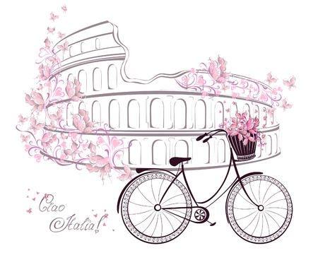ciao: Ciao Italia text with Colosseum and bicycle. Romantic postcard from Rome, Italy. Vector illustration.