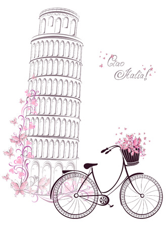 Ciao Italia text with Pisa leaning tower and bicycle. Romantic postcard from Italy. Vector illustration.