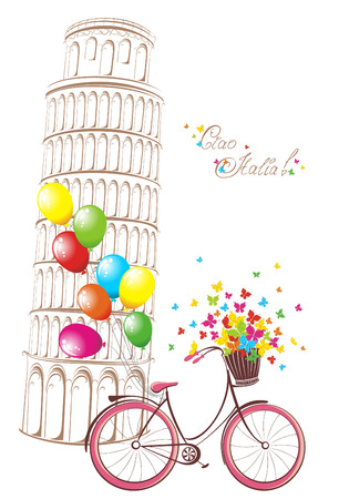 italia: Ciao Italia text with Pisa leaning tower and bicycle. Romantic postcard from Italy. Vector illustration.