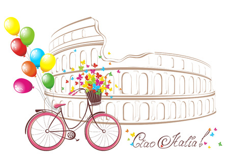 Ciao Italia text with Colosseum and bicycle. Romantic postcard from Rome, Italy. Vector illustration.