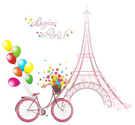 Texto Bonjour París con la torre Eiffel y de la bicicleta. Postal romántica de París. Ilustración del vector.