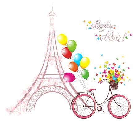 bonjour: Bonjour Paris text with eiffel tower and bicycle. Romantic postcard from Paris. Vector illustration.