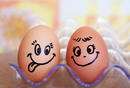 Funny easter smile eggs, love happy eggs couple.