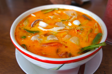 Tom Yum Soup, Thai Food.  Tom Yam - Spicy clear soup typical in Thailand. photo