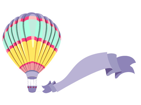 white greeting: Vintage hot air balloon isolated on white. Greeting card. Vector illustration. Illustration