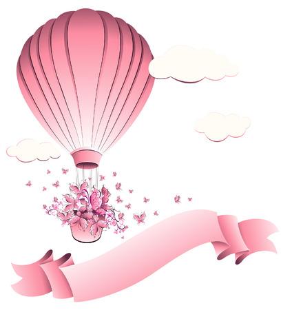 luftschiff: Weinlese-Heißluft-Ballon in Himmel. Grußkarte. Vektor-Illustration.
