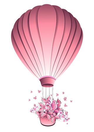 Vintage hot air balloon in sky. Greeting card. Vector illustration. Stock Illustratie