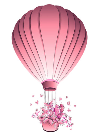 Vintage hot air balloon in sky. Greeting card. Vector illustration. Vettoriali